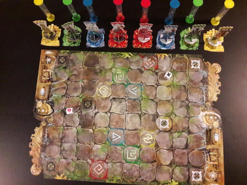 Le plateau de jeu et tout le matériel en place pour une partie