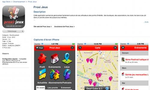 Proxi-Jeux sur l'app store