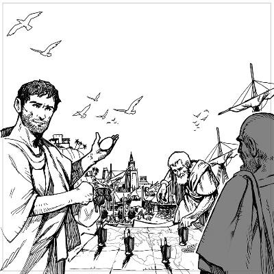 Le dessin au trait (style BD) de Vincent Dutrait.