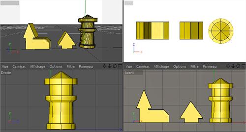 Le résultat dans un logiciel de 3D avec les 4 vues classiques : perspective,