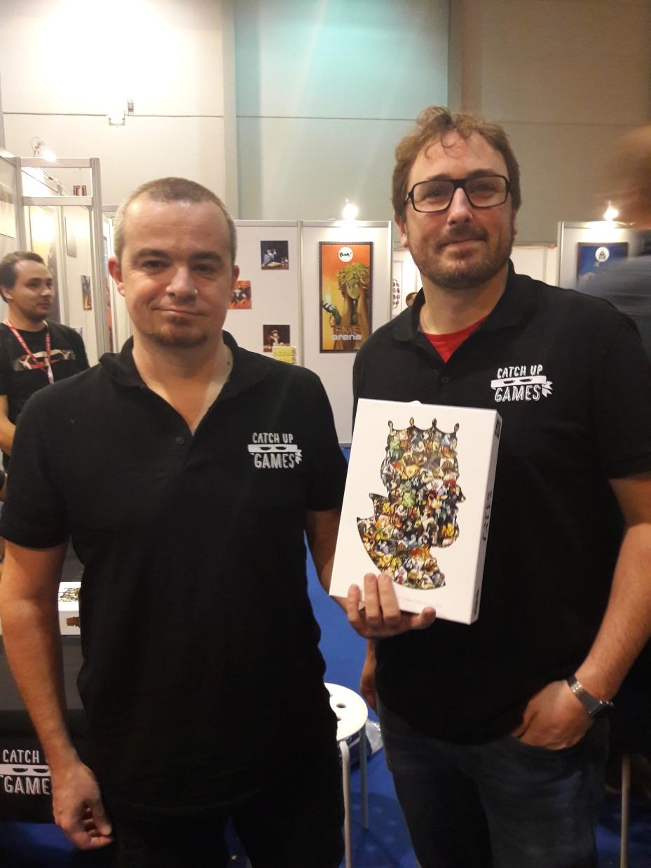 Les Catch Up Games : Clément à gauche, Sébastien à droite, Paper Tales au milieu