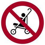 Panneau désignant une interdiction d'utiliser une poussette