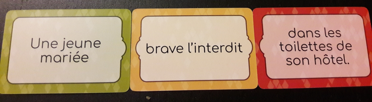 Phrase construite : Une jeune mariée - brave l'interdit - dans les toilettes de son hôtel