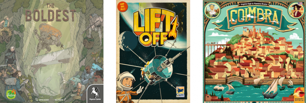 couvertures des jeux The Boldest, Lift Off et Coimbra