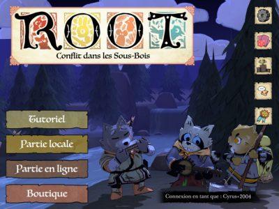 Page d'accueil de l'application - menu principal