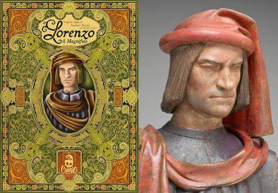 couverture de la boite de Lorenzo et buste en terre cuite de Laurent de Médicis